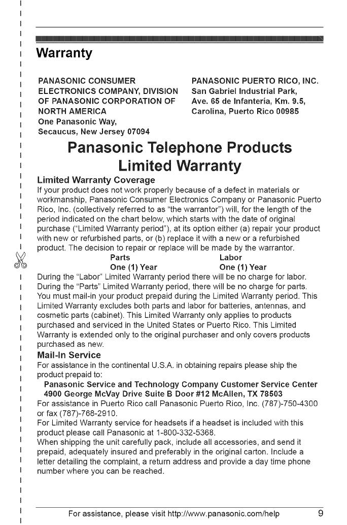 PANASONIC Telephones Manual L0903198