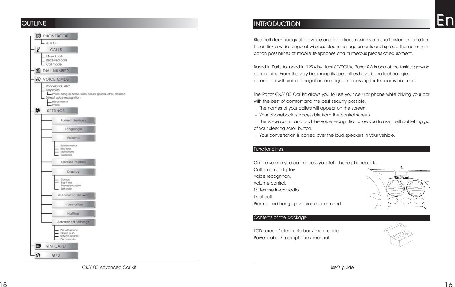 Parrot Ck3100 Hand U0026 39 S Free Car Kit User Manual Ck3100 10 05