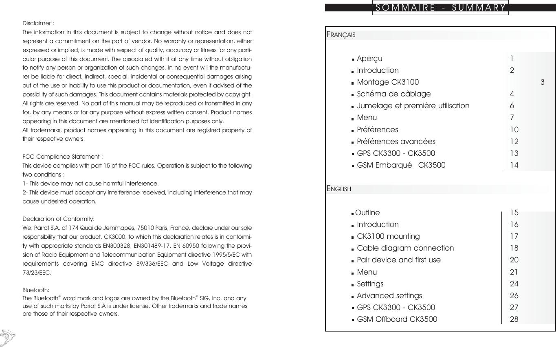 Parrot Ck3100 Hands Free Car Kit User Manual 10 05 04 En Fr Diagram Page 1