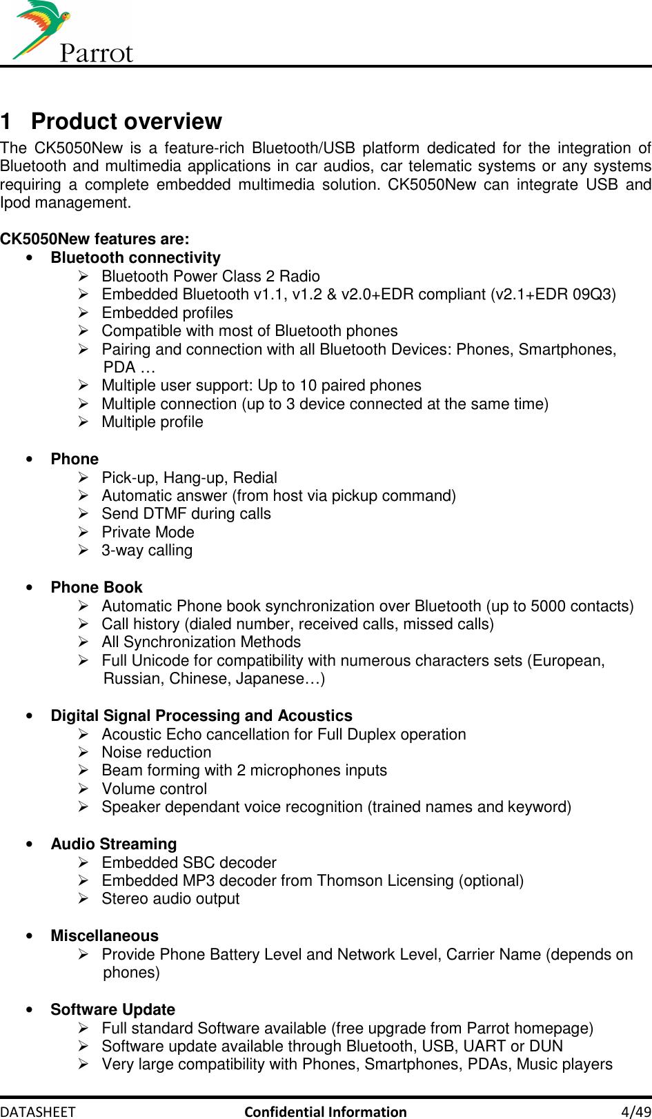 PARROT CK5050NEW Bluetooth Car Multimedia Module User Manual