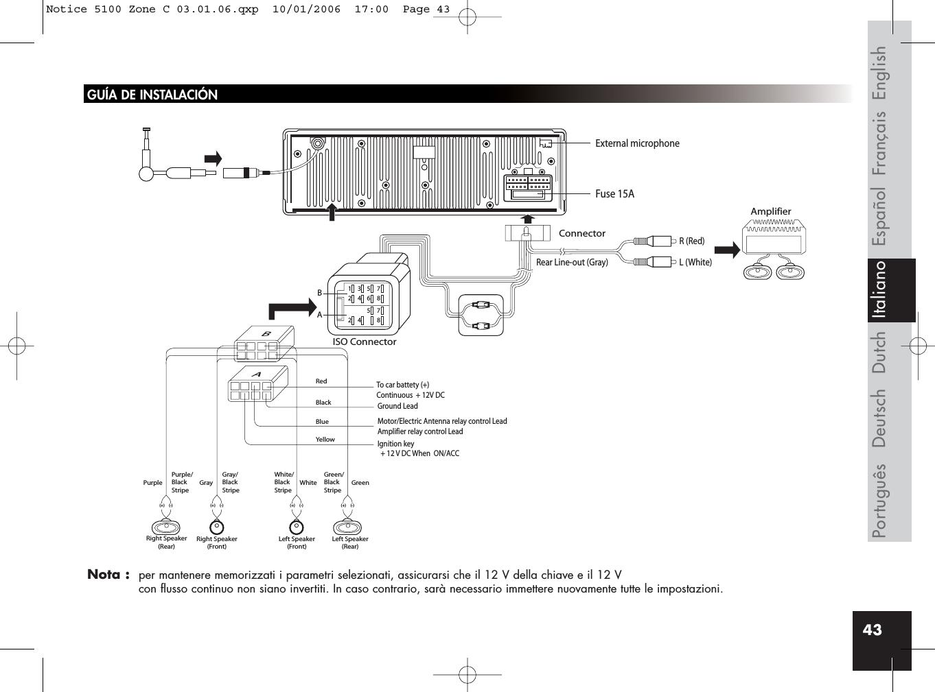Parrot Ck5100 Car Radio Included Handfree Kit Phone User Manual Diagram Page 2 43gua De Instalacinnota Per Mantenere Memorizzati I Parametri Selezionati Assicurarsi Che Il 12 V