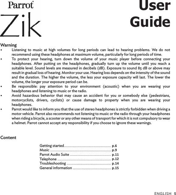 PARROT ZIK Bluetooth Headphones User Manual