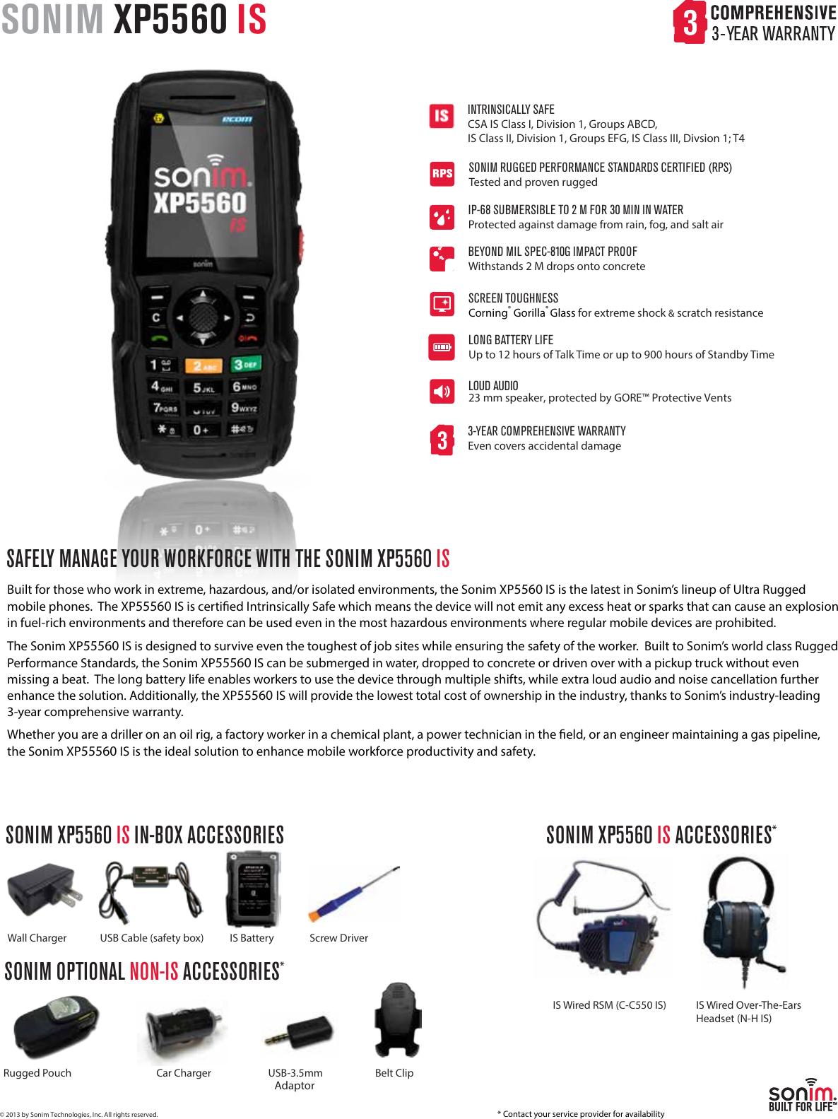 XP5560_IS_TELUS_DS_080913 Spec Sheet Sonim XP5560 Bolt 2 IS