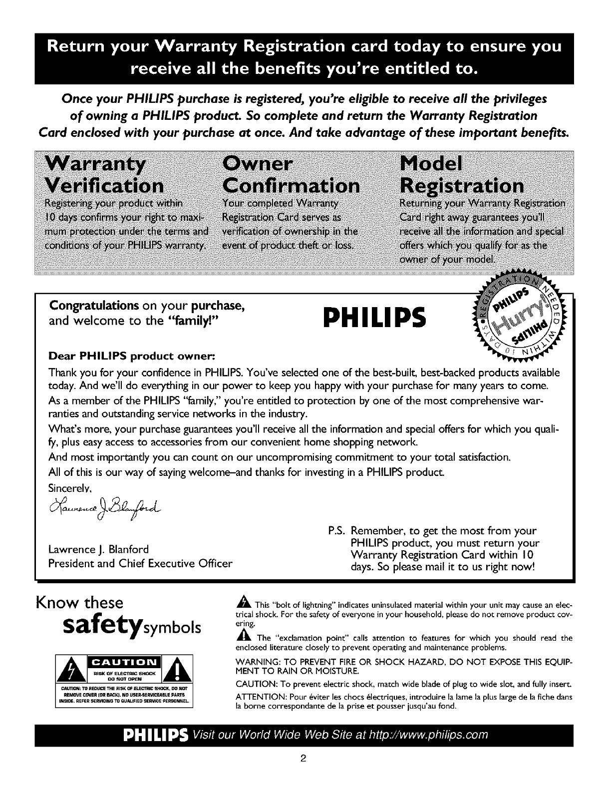 PHILIPS LCD Television Manual L0305449