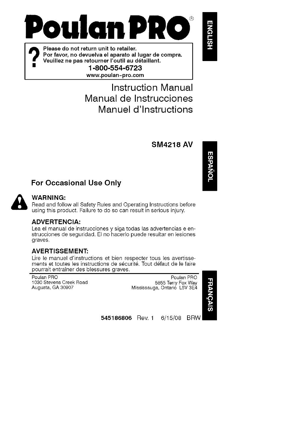 POULAN Chainsaw, Gas Manual L0807181
