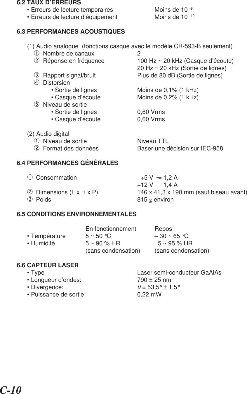 C-106.2 TAUX D'ERREURS• Erreurs de lecture temporaires Moins de 10 -9• Erreurs de lecture d'équipement Moins de 10 -126.3 PERFORMANCES ACOUSTIQUES(1) Audio analogue  (fonctions casque avec le modèle CR-593-B seulement)➀  Nombre de canaux 2➁  Réponse en fréquence 100 Hz ~ 20 kHz (Casque d'écoute)20 Hz ~ 20 kHz (Sortie de lignes)➂  Rapport signal/bruit Plus de 80 dB (Sortie de lignes)➃  Distorsion• Sortie de lignes Moins de 0,1% (1 kHz)• Casque d'écoute Moins de 0,2% (1 kHz)➄  Niveau de sortie• Sortie de lignes 0,60 Vrms• Casque d'écoute 0,60 Vrms(2) Audio digital➀  Niveau de sortie Niveau TTL➁  Format des données Baser une décision sur IEC-9586.4 PERFORMANCES GÉNÉRALES➀  Consommation   +5 V      1,2 A+12 V      1,4 A➁  Dimensions (L x H x P) 146 x 41,3 x 190 mm (sauf biseau avant)➂  Poids 815 g environ6.5 CONDITIONS ENVIRONNEMENTALESEn fonctionnement Repos• Température 5 ~ 50 °C – 30 ~ 65 °C• Humidité 5 ~ 90 % HR   5 ~ 95 % HR(sans condensation) (sans condensation)6.6 CAPTEUR LASER• Type Laser semi-conducteur GaAlAs• Longueur d'ondes: 790 ± 25 nm• Divergence:θ = 53,5° ± 1,5°• Puissance de sortie: 0,22 mW