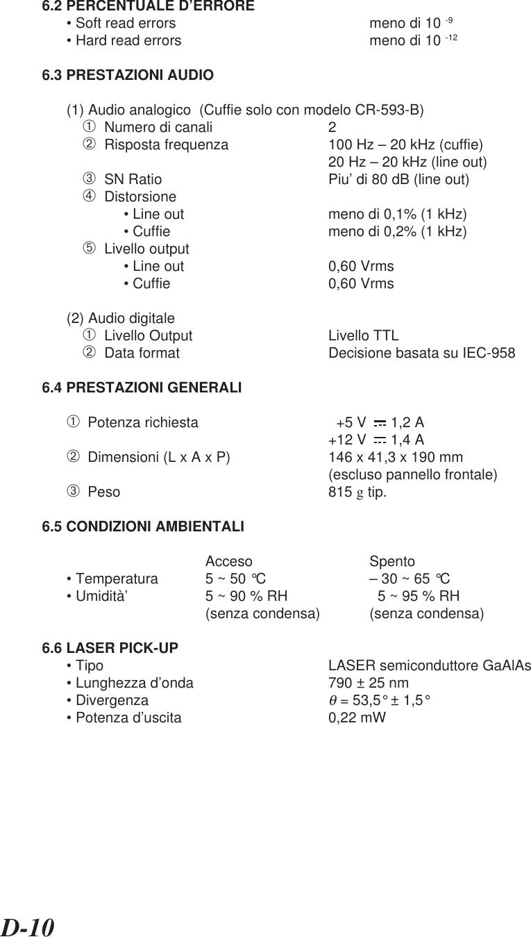 D-106.2 PERCENTUALE D'ERRORE• Soft read errors meno di 10 -9• Hard read errors meno di 10 -126.3 PRESTAZIONI AUDIO(1) Audio analogico  (Cuffie solo con modelo CR-593-B)➀  Numero di canali 2➁  Risposta frequenza 100 Hz – 20 kHz (cuffie)20 Hz – 20 kHz (line out)➂  SN Ratio Piu' di 80 dB (line out)➃  Distorsione• Line out meno di 0,1% (1 kHz)• Cuffie meno di 0,2% (1 kHz)➄  Livello output• Line out 0,60 Vrms• Cuffie 0,60 Vrms(2) Audio digitale➀  Livello Output Livello TTL➁  Data format Decisione basata su IEC-9586.4 PRESTAZIONI GENERALI➀  Potenza richiesta   +5 V      1,2 A+12 V      1,4 A➁  Dimensioni (L x A x P) 146 x 41,3 x 190 mm(escluso pannello frontale)➂  Peso 815 g tip.6.5 CONDIZIONI AMBIENTALIAcceso Spento• Temperatura 5 ~ 50 °C – 30 ~ 65 °C• Umidità' 5 ~ 90 % RH   5 ~ 95 % RH(senza condensa) (senza condensa)6.6 LASER PICK-UP• Tipo LASER semiconduttore GaAlAs• Lunghezza d'onda 790 ± 25 nm• Divergenzaθ = 53,5° ± 1,5°• Potenza d'uscita 0,22 mW