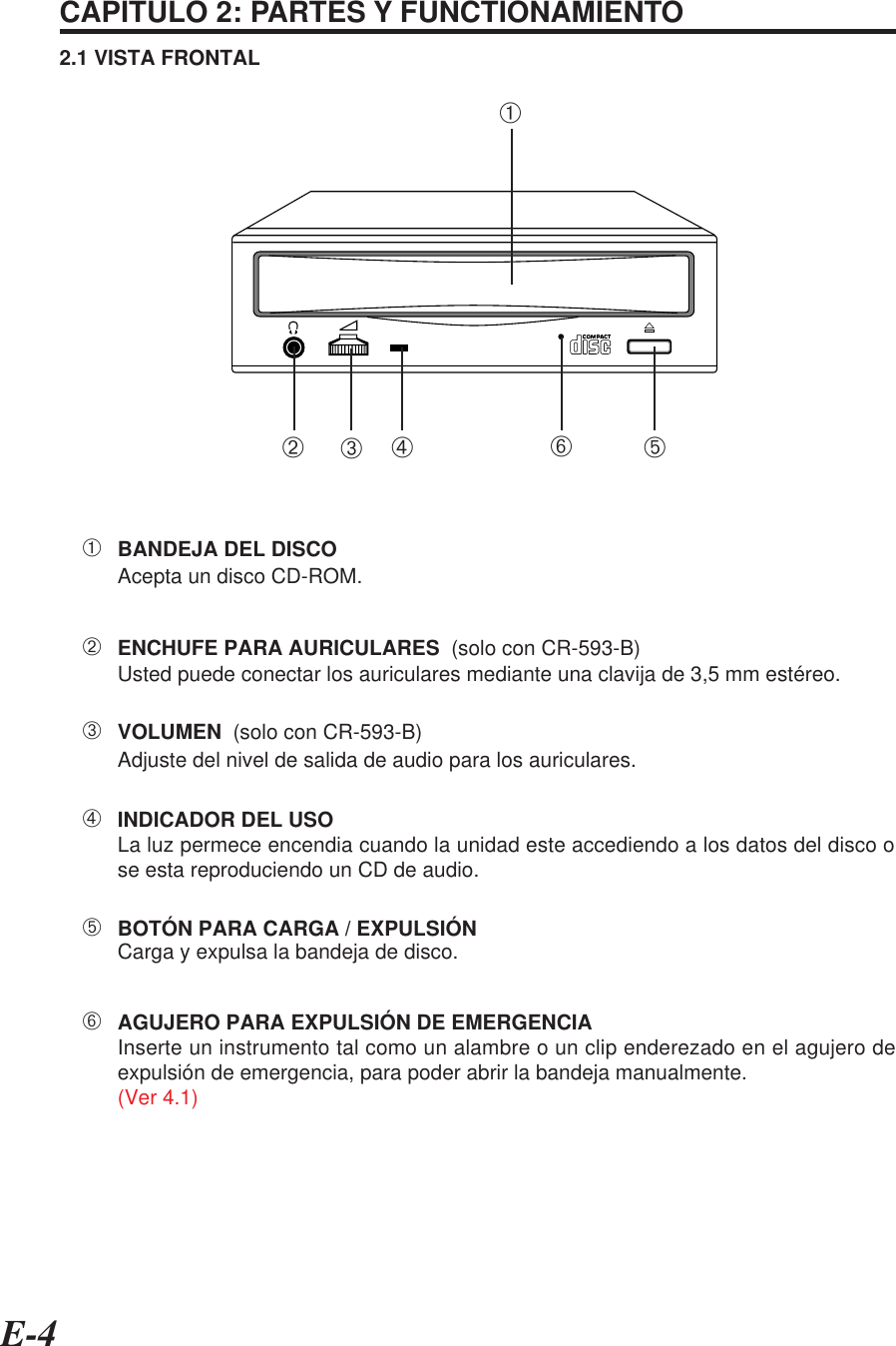 E-4CAPITULO 2: PARTES Y FUNCTIONAMIENTO2.1 VISTA FRONTAL    ➂VOLUMEN  (solo con CR-593-B)    ➀BANDEJA DEL DISCOAcepta un disco CD-ROM.    ➁ENCHUFE PARA AURICULARES  (solo con CR-593-B)Usted puede conectar los auriculares mediante una clavija de 3,5 mm estéreo.    ➃INDICADOR DEL USOLa luz permece encendia cuando la unidad este accediendo a los datos del disco ose esta reproduciendo un CD de audio.    ➄BOTÓN PARA CARGA / EXPULSIÓNCarga y expulsa la bandeja de disco.    ➅AGUJERO PARA EXPULSIÓN DE EMERGENCIAInserte un instrumento tal como un alambre o un clip enderezado en el agujero deexpulsión de emergencia, para poder abrir la bandeja manualmente.(Ver 4.1)Adjuste del nivel de salida de audio para los auriculares.➀➁➂➃➄➅