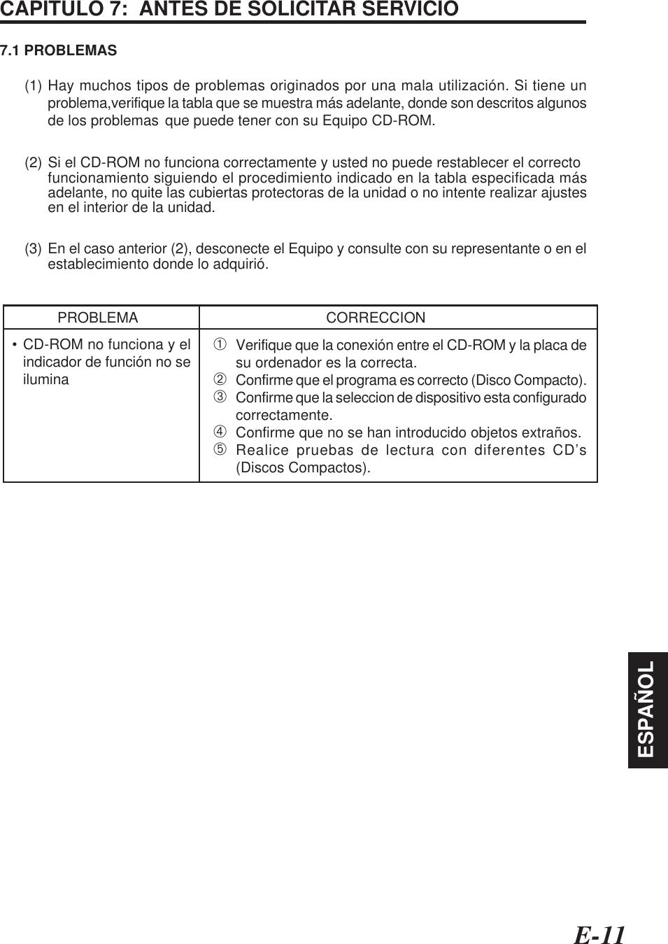 E-11ESPAÑOLCAPITULO 7:  ANTES DE SOLICITAR SERVICIO7.1 PROBLEMAS(1) Hay muchos tipos de problemas originados por una mala utilización. Si tiene unproblema,verifique la tabla que se muestra más adelante, donde son descritos algunosde los problemas que puede tener con su Equipo CD-ROM.(2) Si el CD-ROM no funciona correctamente y usted no puede restablecer el correctofuncionamiento siguiendo el procedimiento indicado en la tabla especificada másadelante, no quite las cubiertas protectoras de la unidad o no intente realizar ajustesen el interior de la unidad.(3) En el caso anterior (2), desconecte el Equipo y consulte con su representante o en elestablecimiento donde lo adquirió.PROBLEMA CORRECCION• CD-ROM no funciona y elindicador de función no seilumina➀Verifique que la conexión entre el CD-ROM y la placa desu ordenador es la correcta.➁Confirme que el programa es correcto (Disco Compacto).➂Confirme que la seleccion de dispositivo esta configuradocorrectamente.➃Confirme que no se han introducido objetos extraños.➄Realice pruebas de lectura con diferentes CD's(Discos Compactos).