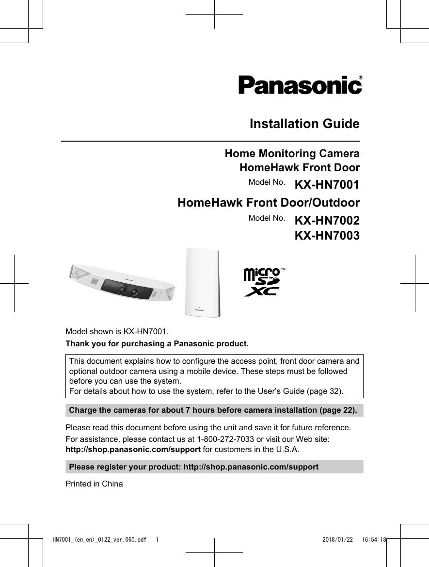 Panasonic Of North America 96nkx Hnc700 Homehawk Front Door User Ptz Camera Wiring Diagram Manual Installation English