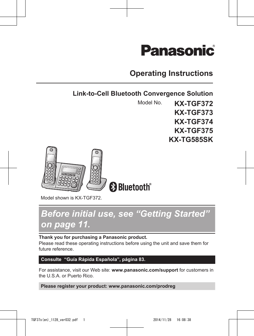 panasonic of north america 96nkx tgf370 dect 6 0 base with bt user rh usermanual wiki panasonic user manuals kx-tg7641 panasonic user manuals pdf