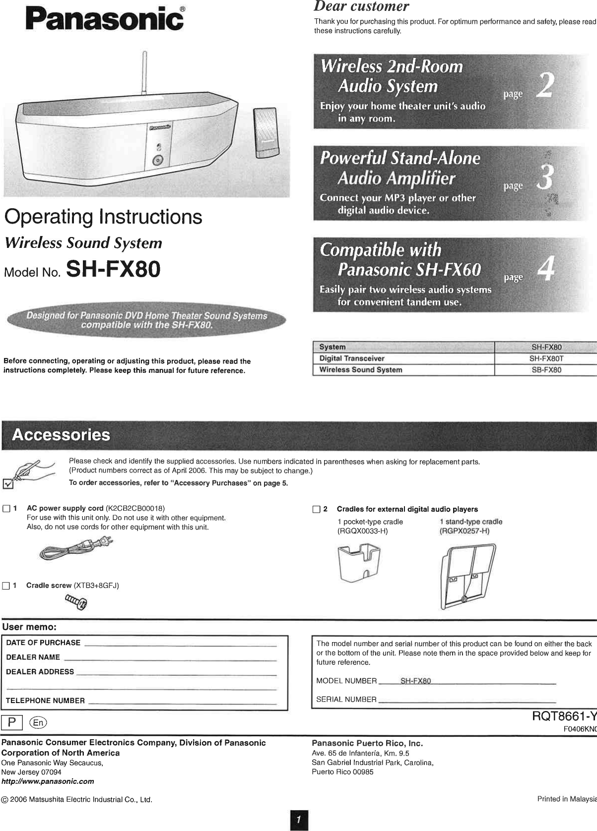 Panasonic Of North America Sefx80a Wireless Sound System Model Sb Guide Fx80 User Manual Users