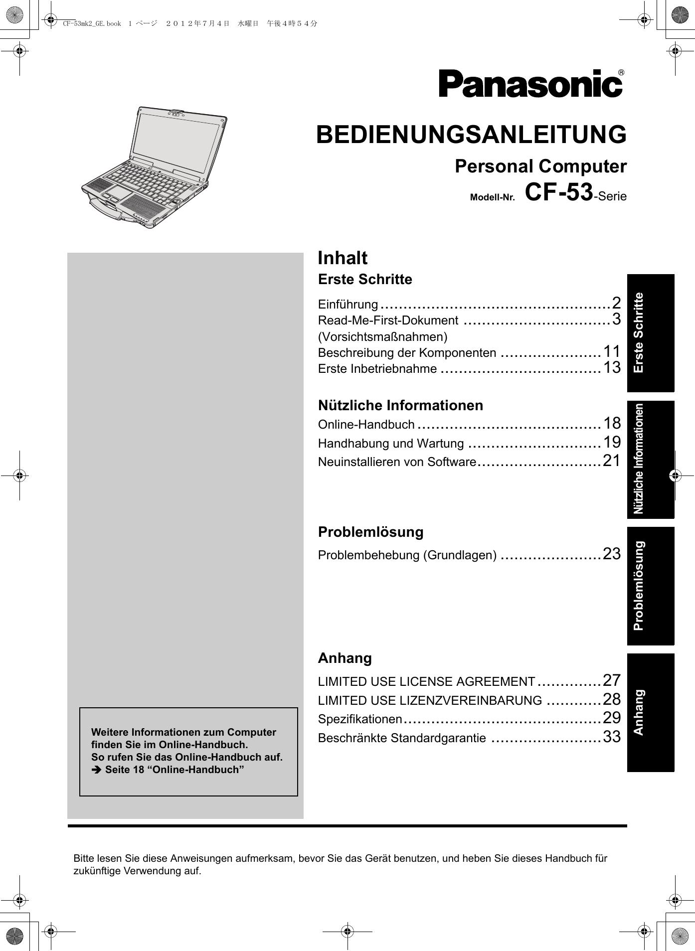 panasonic cf 53j windows 7 pro 53mk2 ge user manual operating instructions  german  53mk2 oi windows 7 professional user manual pdf windows 7 professional manual download