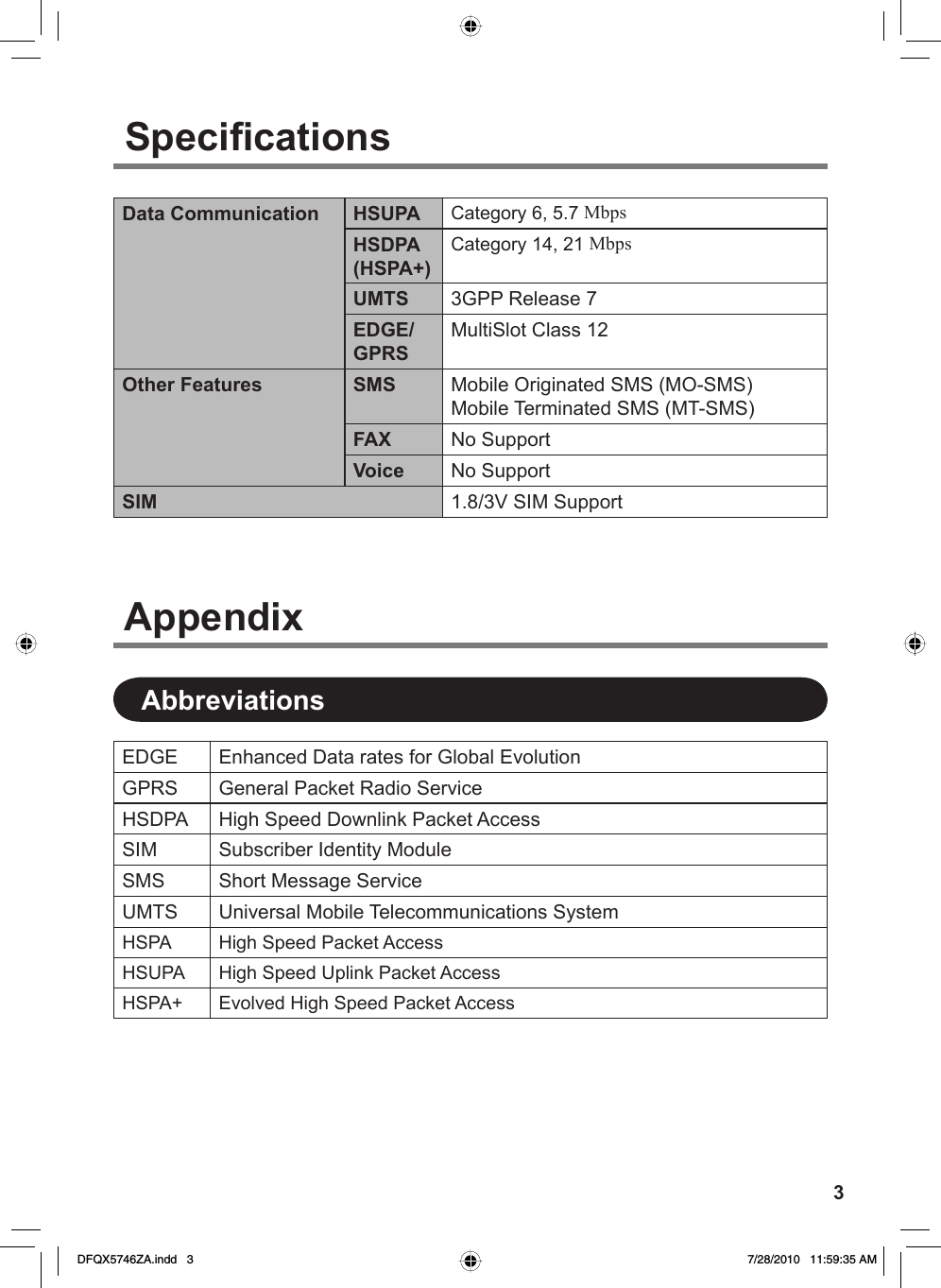 Panasonic CF WEWxxxxx (EDGE/EVDO And HSDPA/UMTS Kit) User