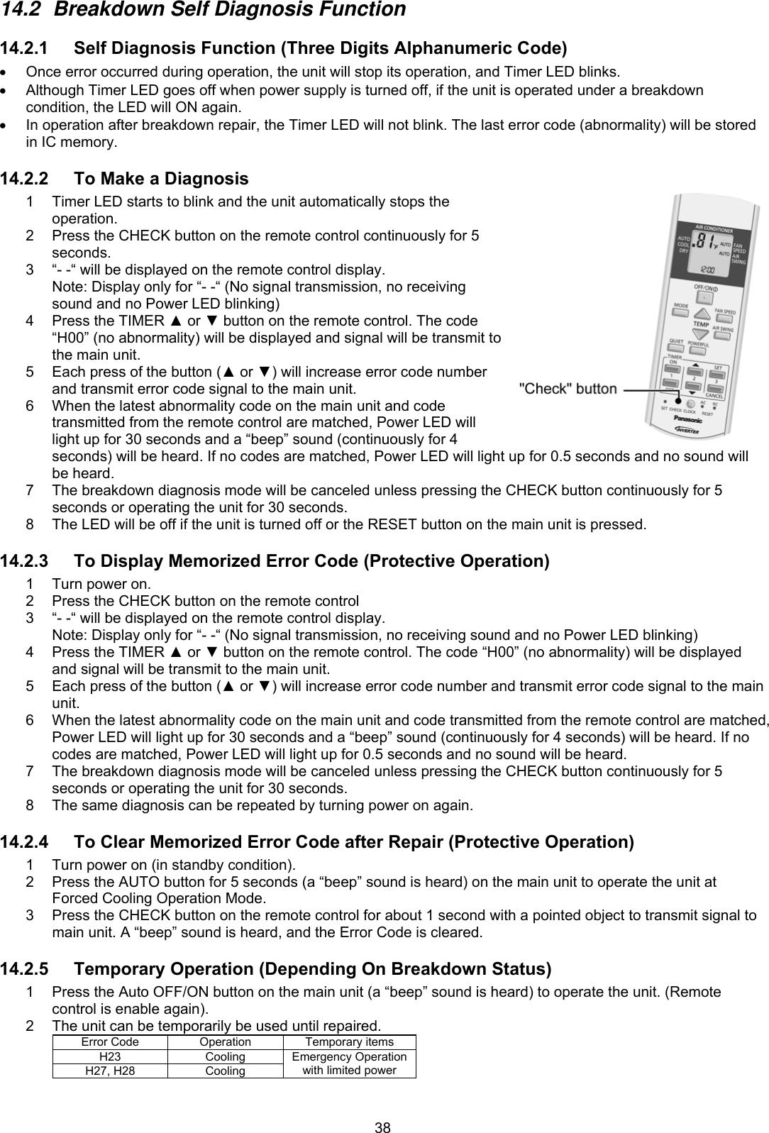 Panasonic Cs S9Nkua 9K 12K Service Manual