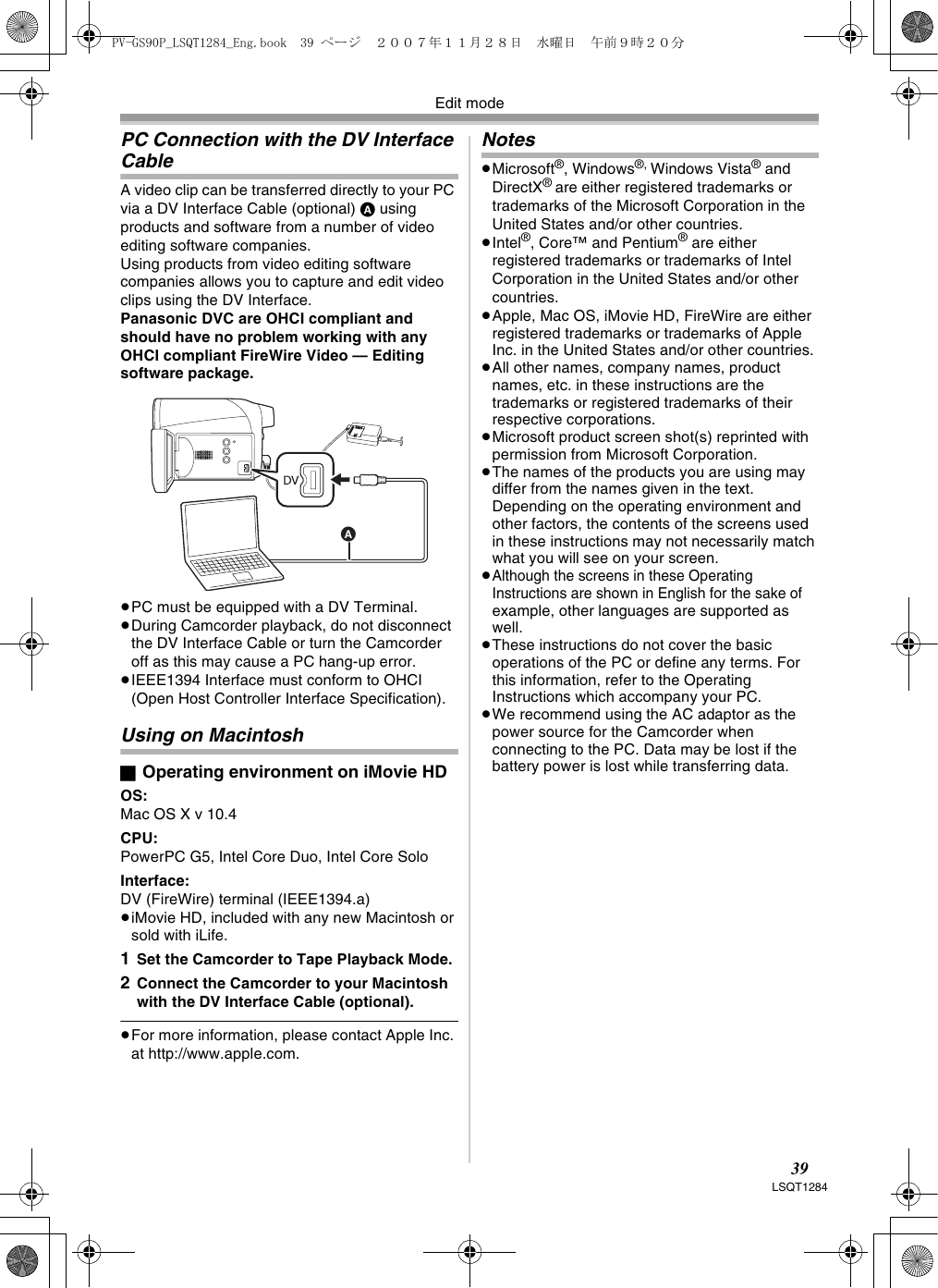 Panasonic Pv Gs90P Operating Instructions