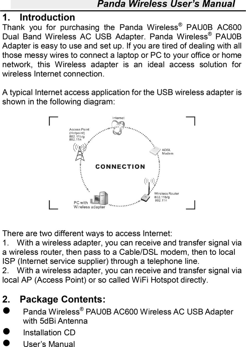 Panda Wireless Lgpau0b Ac600 Dual Band Ac Wifi Antenna Wiring Diagram Usb Adapter With 5dbi User Manual 6 1