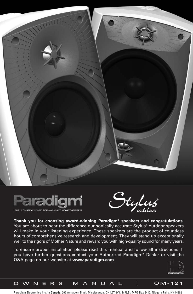 Paradigm Stylus 270 Outdoor Speaker Users Manual OM