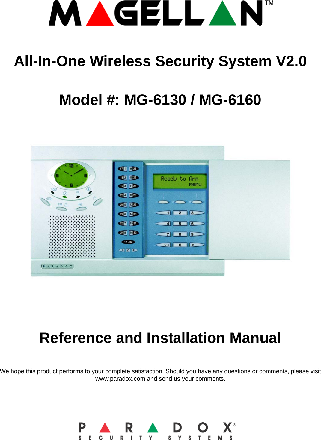 Paradox Security Systems Mg6130 Wireless Console User
