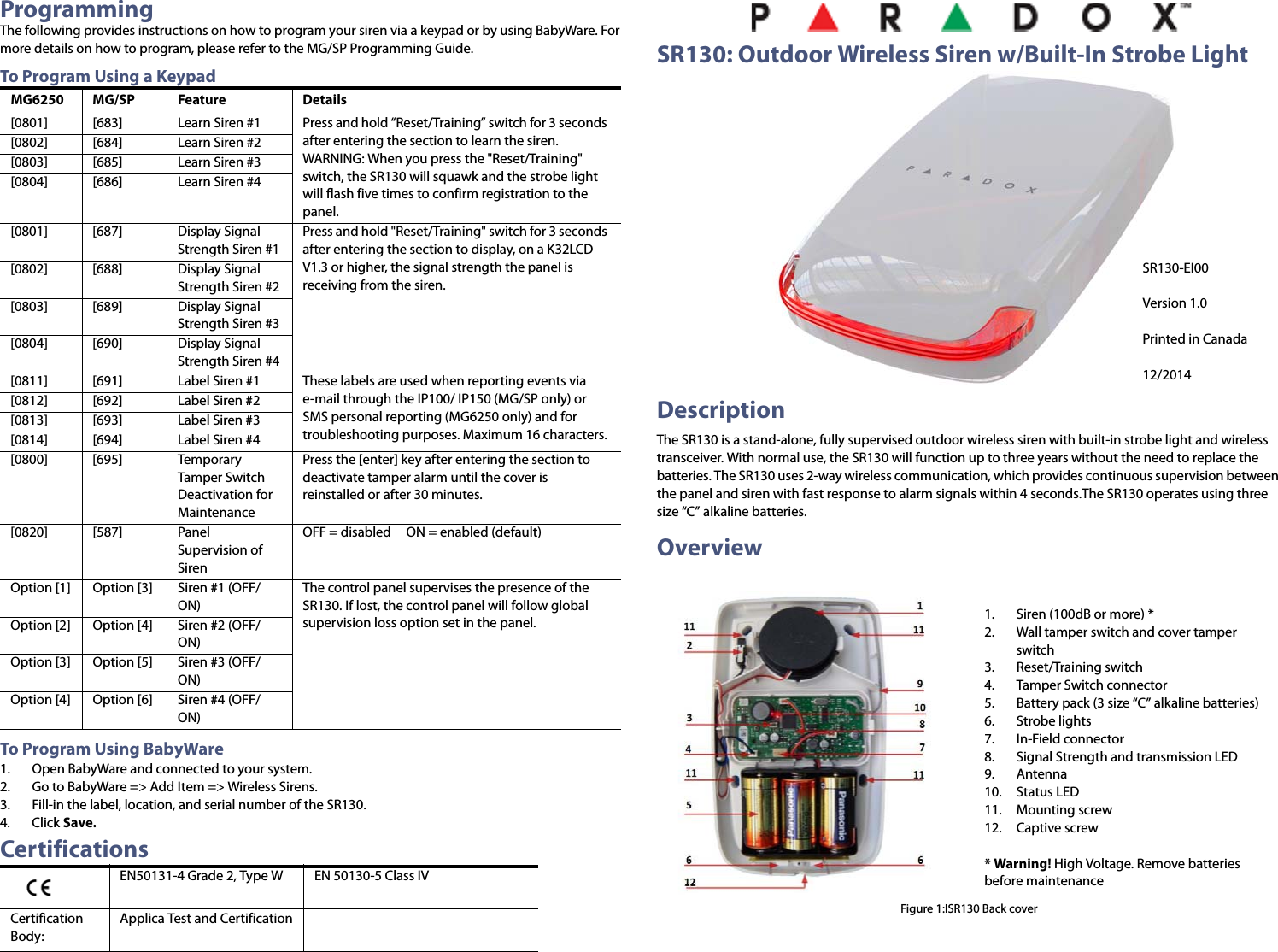 Paradox Security Systems SR130 Outdoor Wireless Siren User Manual