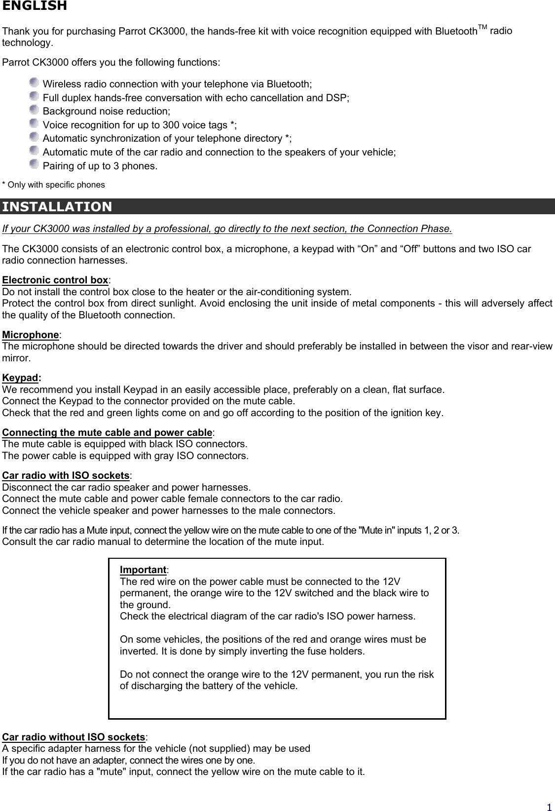 Parrot Ck 3000 Users Manual Notice English 2003 11 18 Male Plug Wiring Diagram