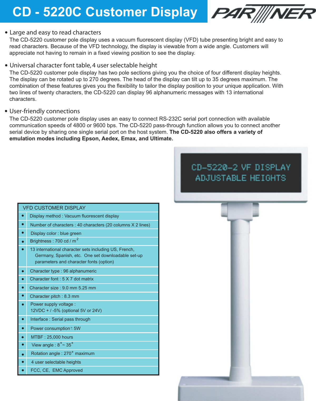 Partner Tech Customer Pole Display Cd 5220 Users Manual 5220pdf3b