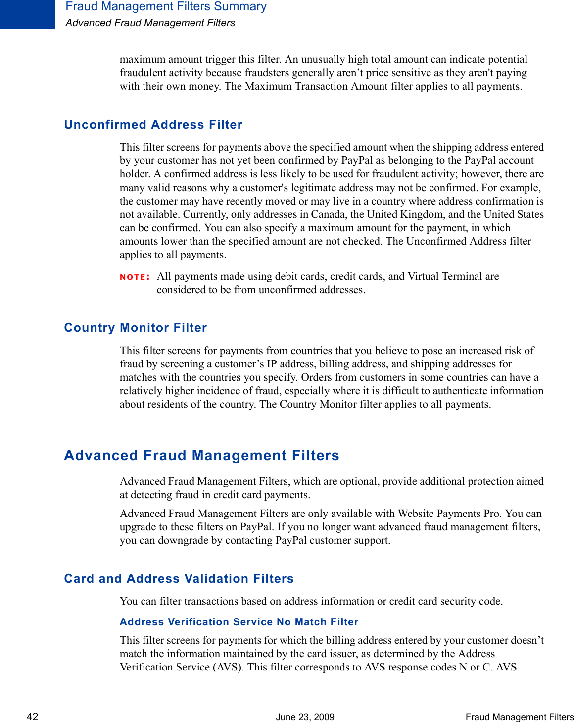 Paypal Fraud Management Filters 2012 User Guide PayPalFMF
