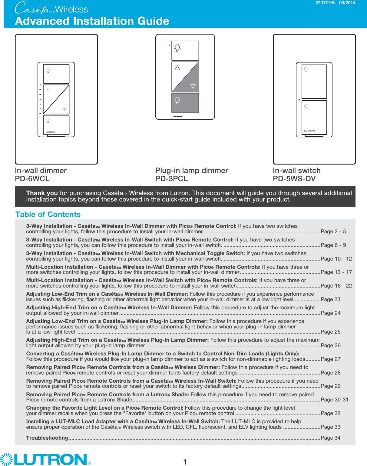 Caseta Wireless Advanced Installation Guide Part 0301710b Directions Mlc Light Controller Wiring Diagram