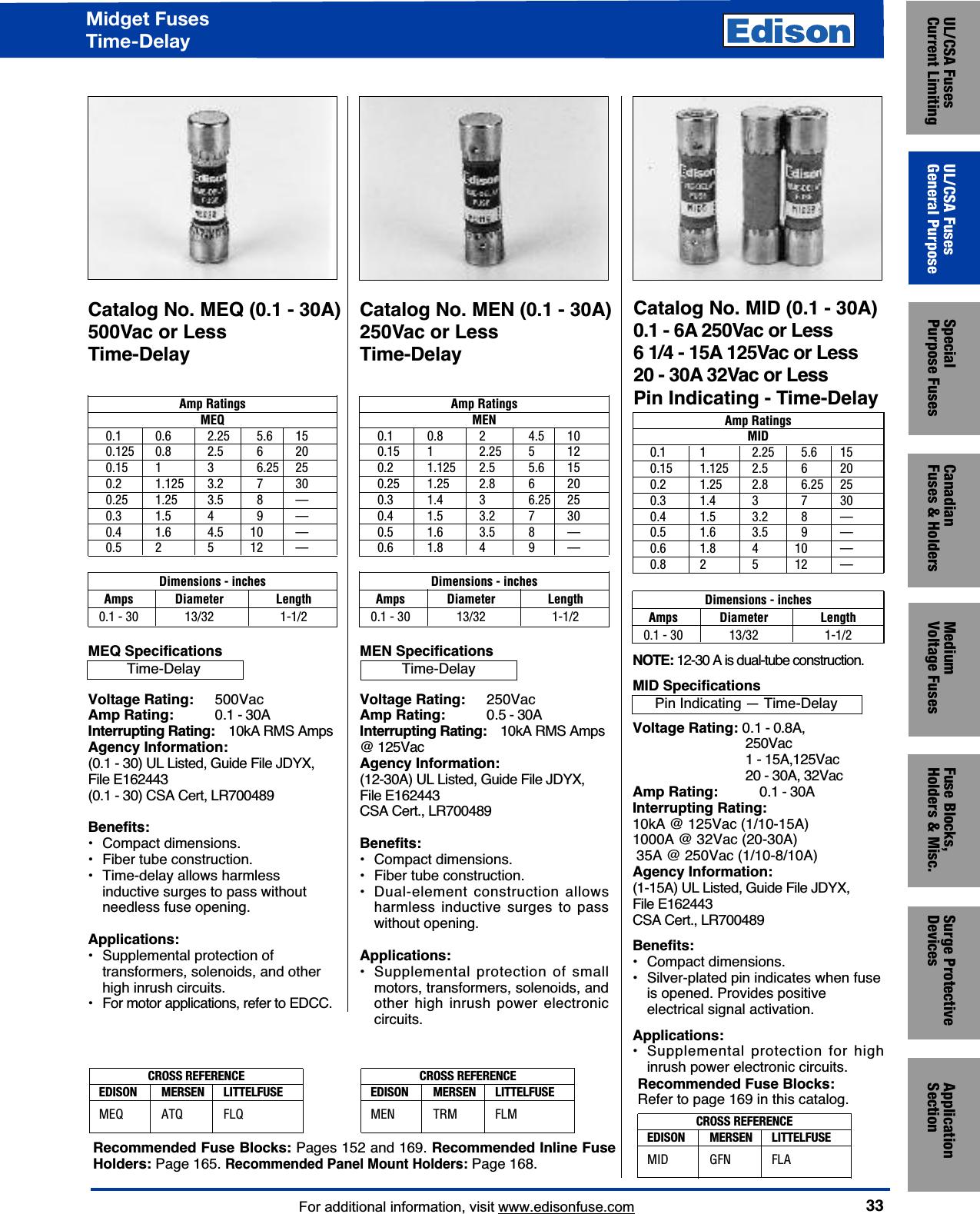 15 Ampere 10kA 1//4 Diameter x 1-1//4 Length 1//4 Diameter x 1-1//4 Length Mersen GGC Glass Electronic Fuse 125VAC