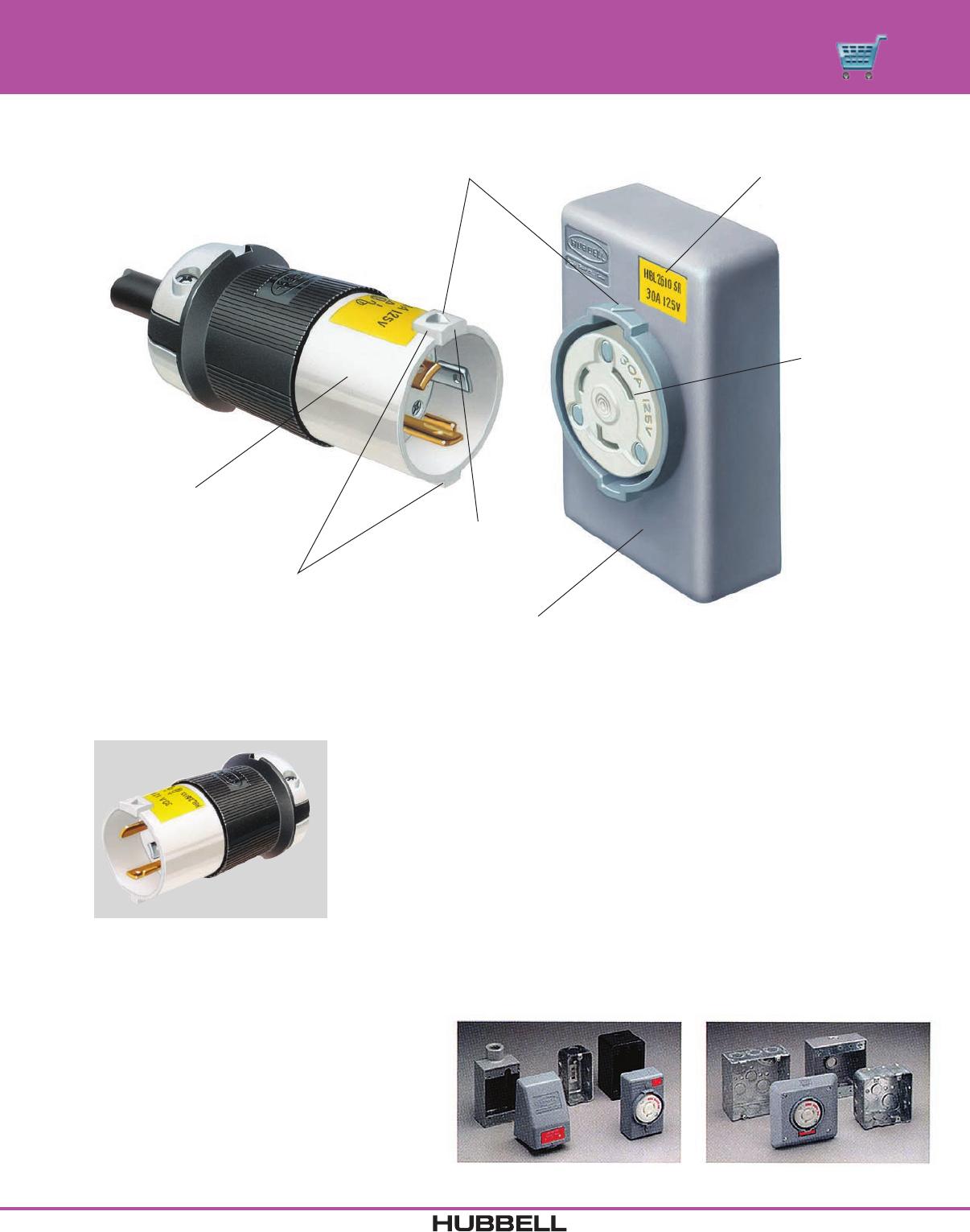 Hubbell HBL7486-G Mini Twistlock Flanged Inlet 10 Amp 250V 15 Amp 125V
