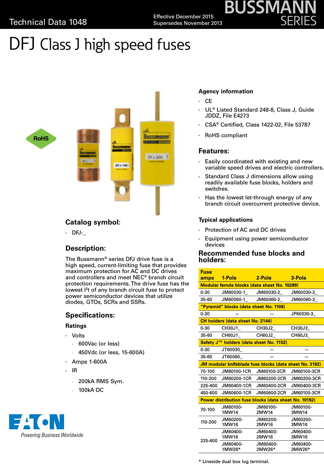 Bussmann Series Class J Dfj High Speed Fuse Data Sheet No 1048 Brochure Box Ads