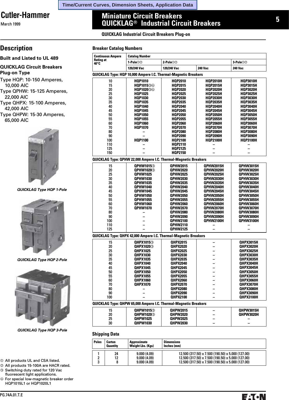 CUTLER HAMMER QPGF1040 40 AMP 1 POLE 120 VOLT GROUND FAULT CIRCUIT BREAKER