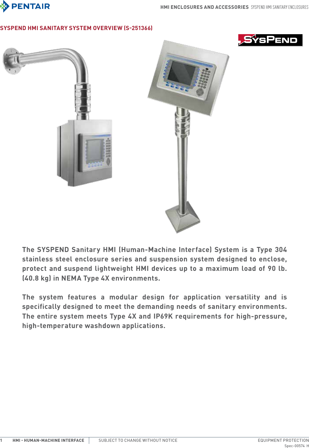 Enclosure Accessory SSBBSS SYSPEND Series SSBBSS Swivel Base Bracket Hoffman SYSPEND HMI Sanitary Enclosures