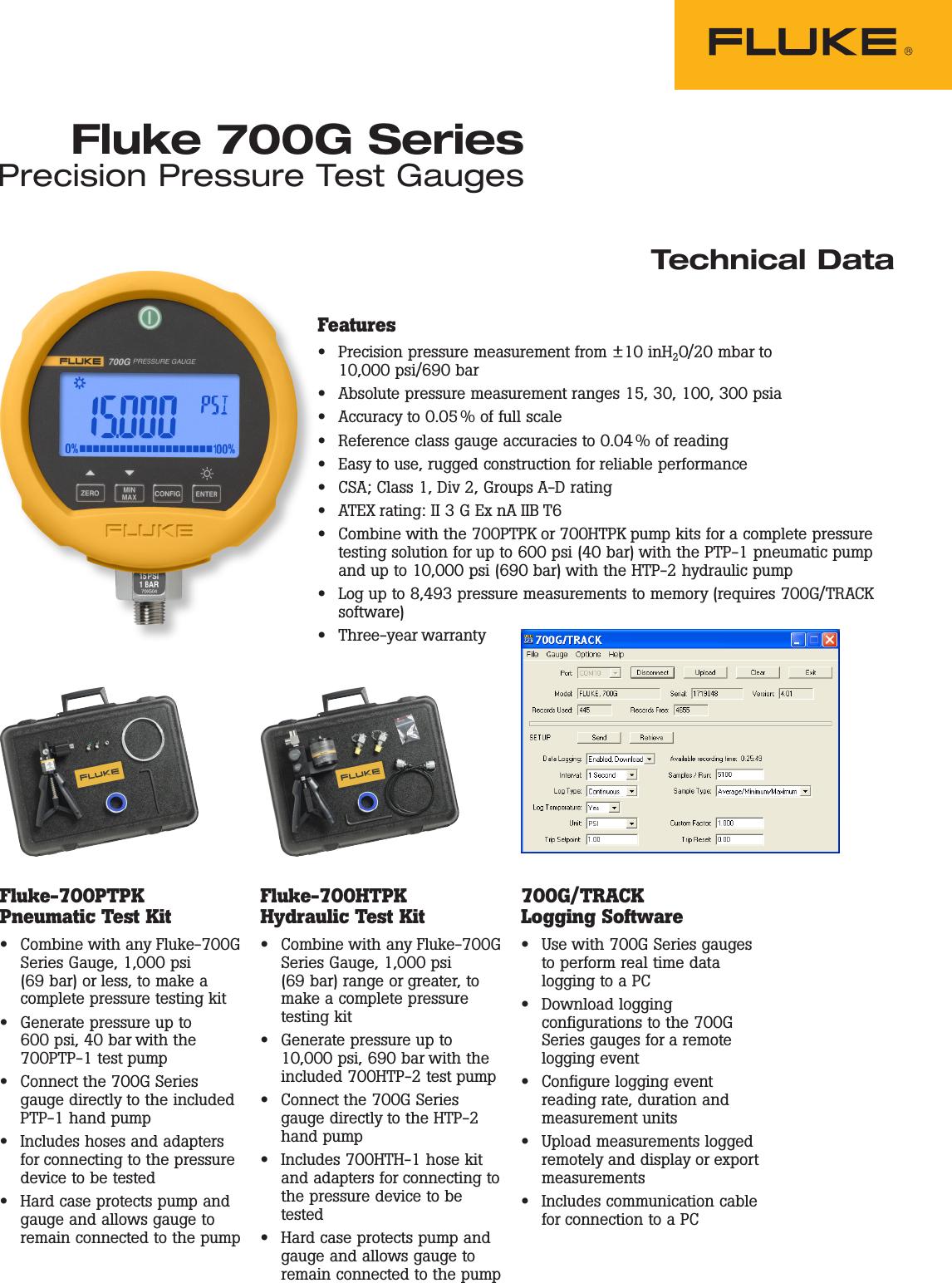 Fluke 700G Precision Pressure Gauges