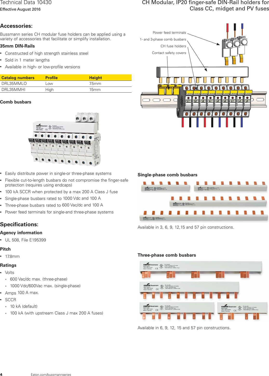 Bussmann Series Ch Global Modular Fuse Holders Data Sheet No 10430 Midget Diagram Page 4 Of 9