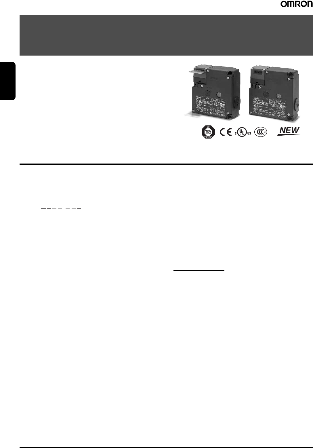 OMRON SAFETY COMPONENTS SERIES D4NL on