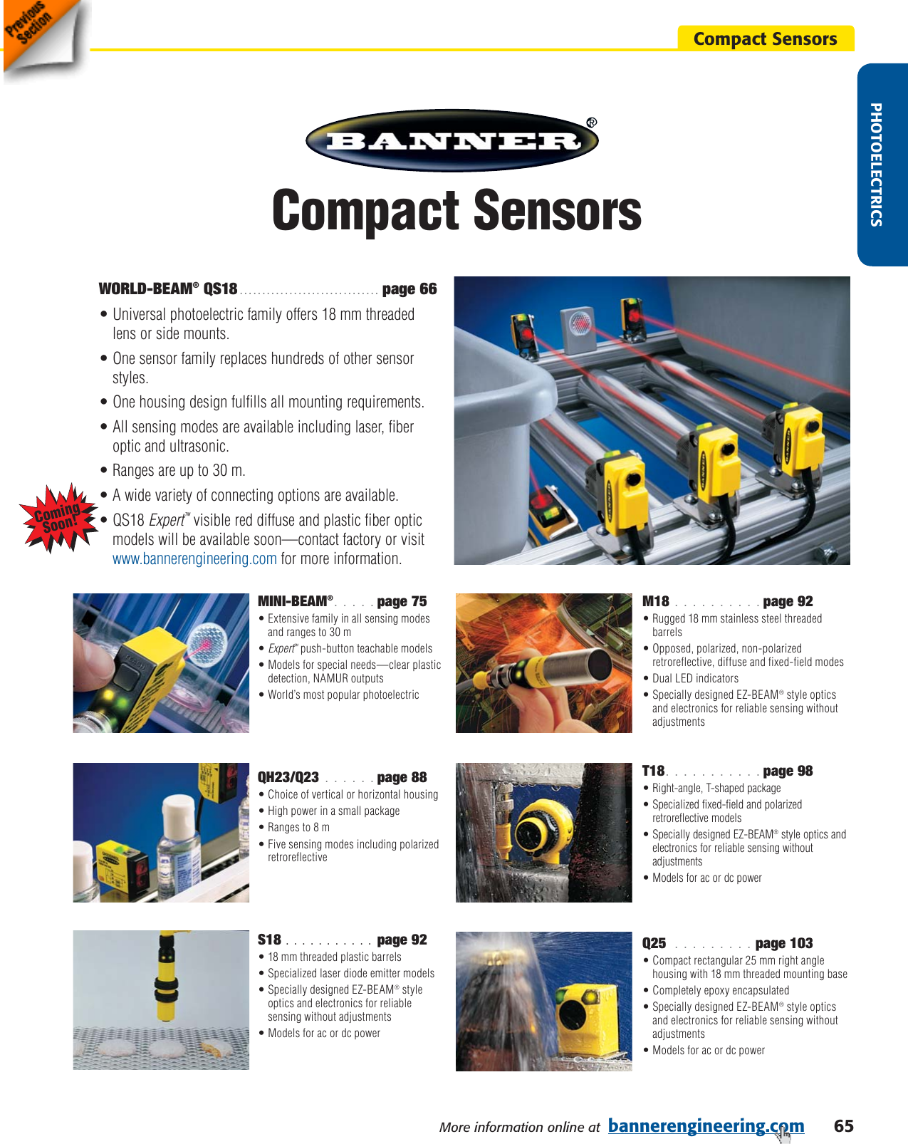 Sensors 10-30vdc Reflective Sensor - teachable Banner QS18EN6LPQ8 ...