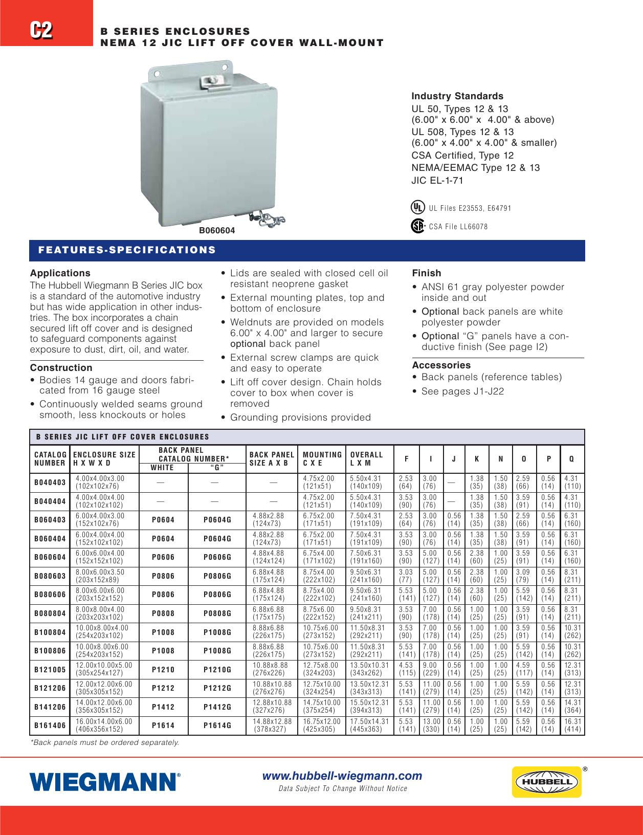 "12.00/""H x 12.00/""W x 6.00/""D Wall-Mount Carbon Steel WIEGMANN RSC121206 NEMA 3R"