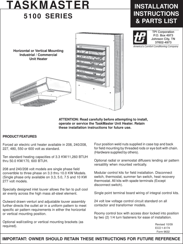 9632 pmd installation directionsTaskmaster Unit Heater Wiring Diagram #18