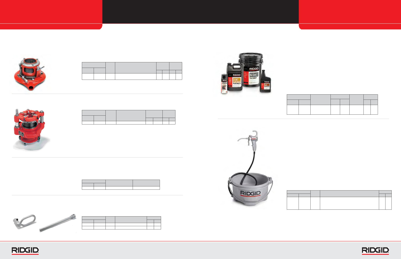 Ridgid Product Catalog 104411 12r Npt Alloy Dies 2 Threader 37850 Manual Receding Threaders