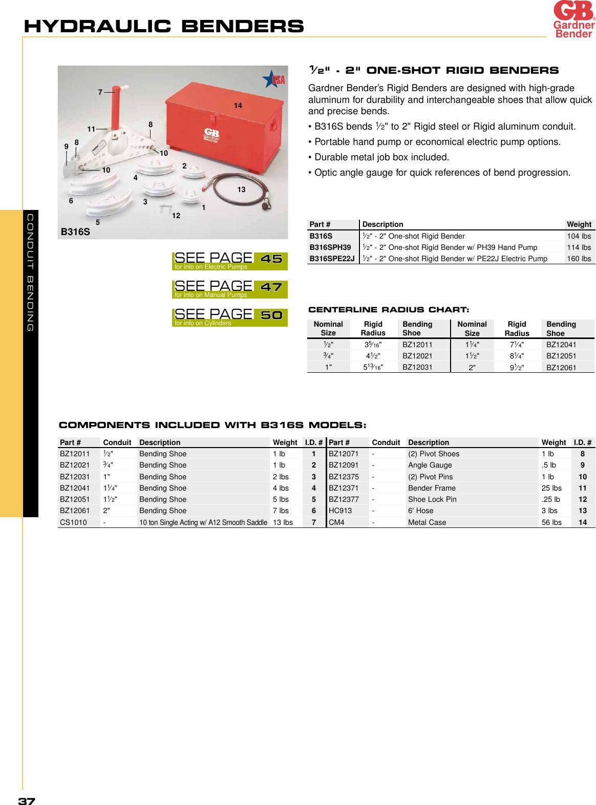 "Gardner Bender 930B 1//2/"" EMT Aluminum Hand Bender w//bending manual 1//Pk"