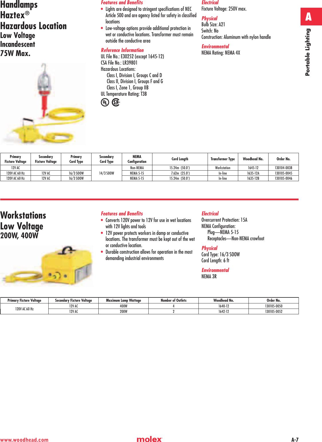 Workstation Transformer Type 50ft Cord Length 26W Lamp Wattage 12VAC Primary Fixture Voltage 16//3 SOOW Cord Type Fluorescent Bulb Hazardous Location Non-NEMA Configuration Woodhead 1090-HZ12B163 Haztex Handlamp
