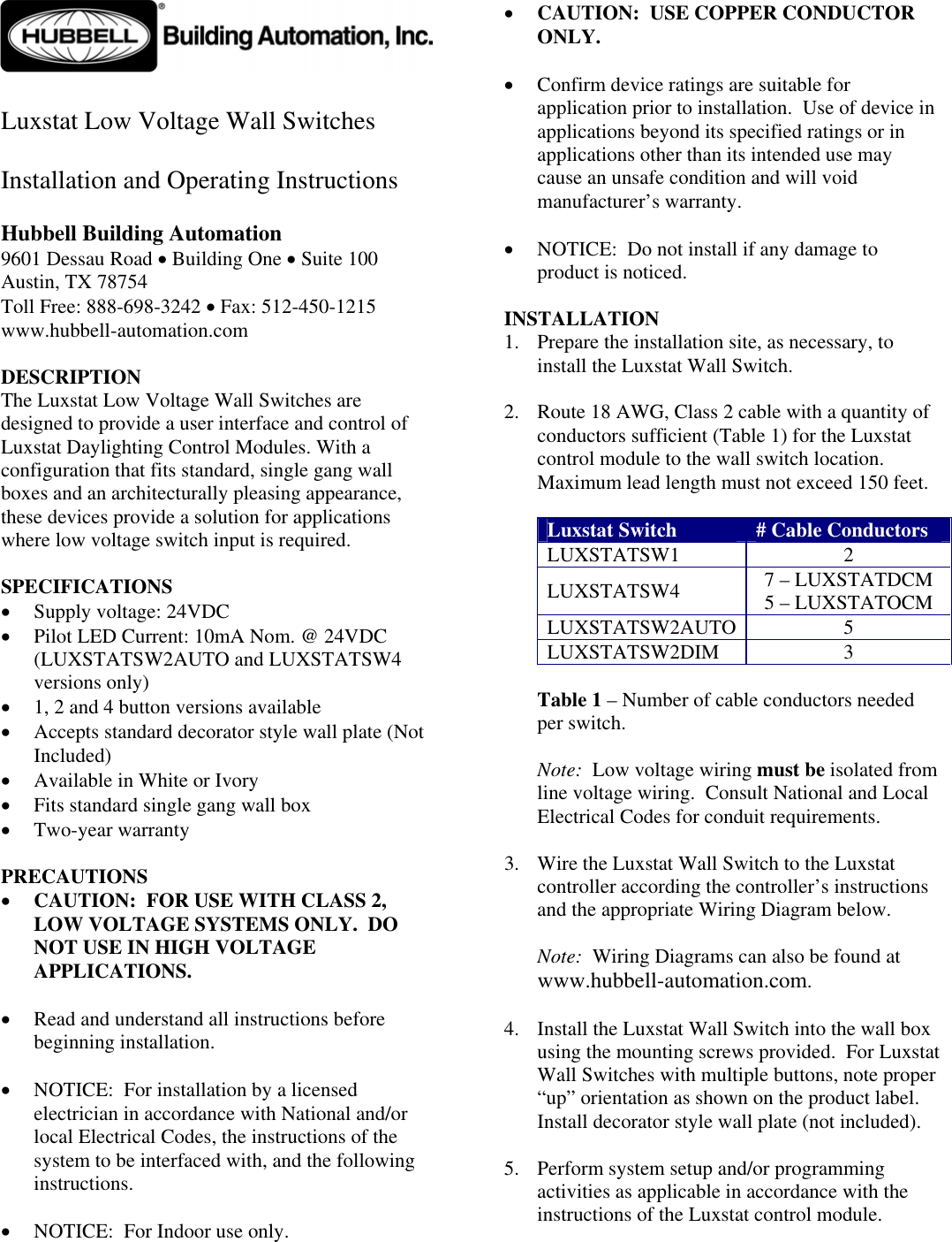 Hubbell Logo Here Installation Directions Diions Wiring Diagram
