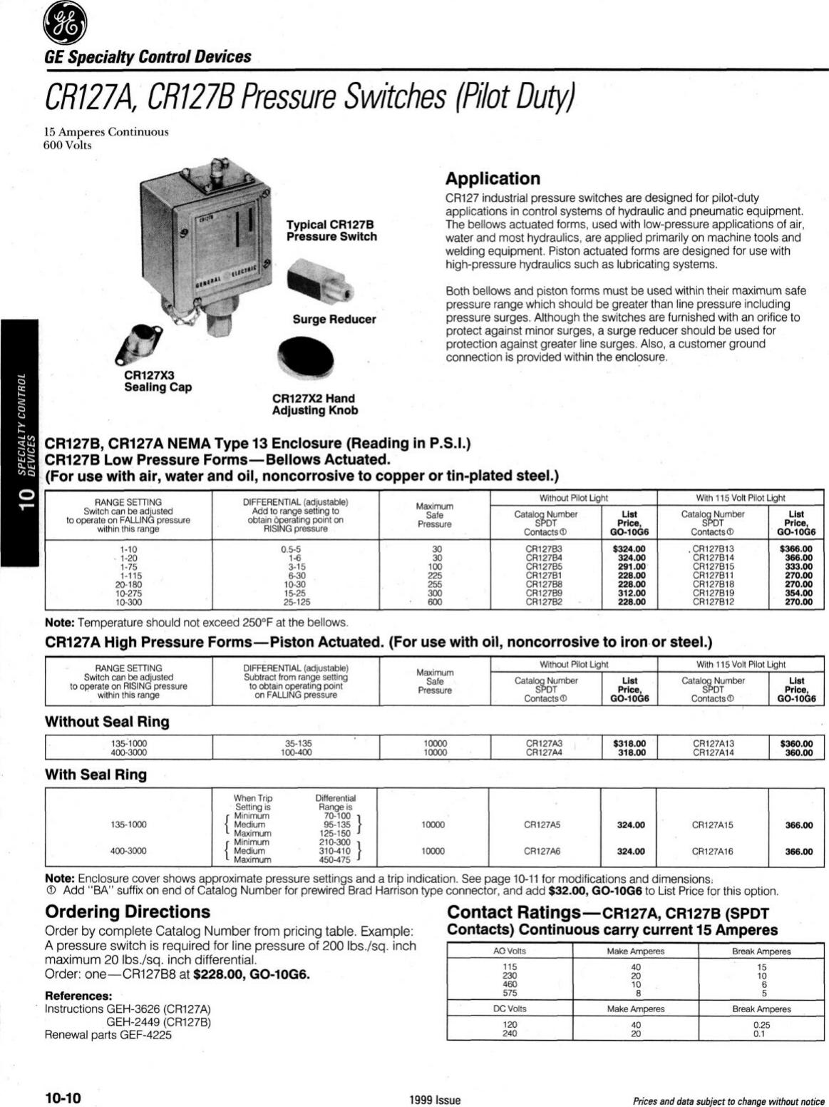 GE CR127B4 Pressure Switch.