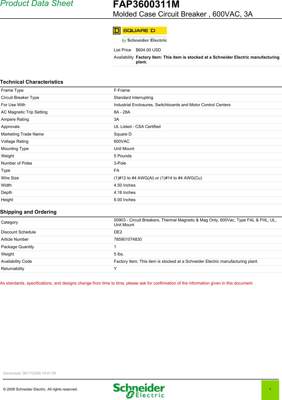 Digest 173 Fal3605016m Adjustable Instantaneous Trip Circuit Breaker Photo 1