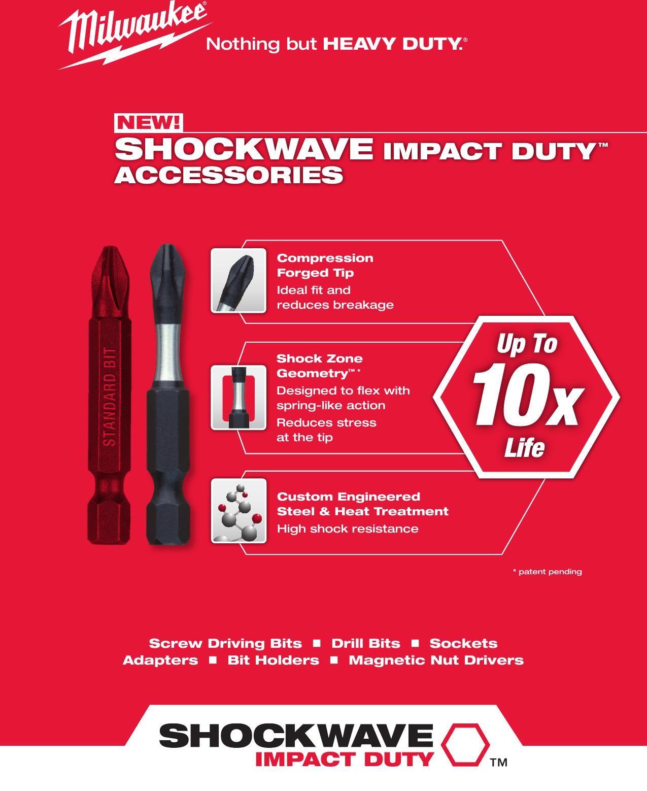 Milwaukee 48-32-4473 SHOCKWAVE Impact 2-Inch SQ3 Square Recess Power Bit 2-Pack