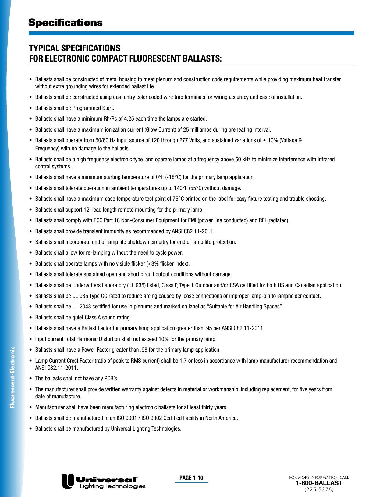 10 Pieces Universal C2642UNVMES Compact Fluorescent 2L 26W 120//277 BOTTOM STUDS