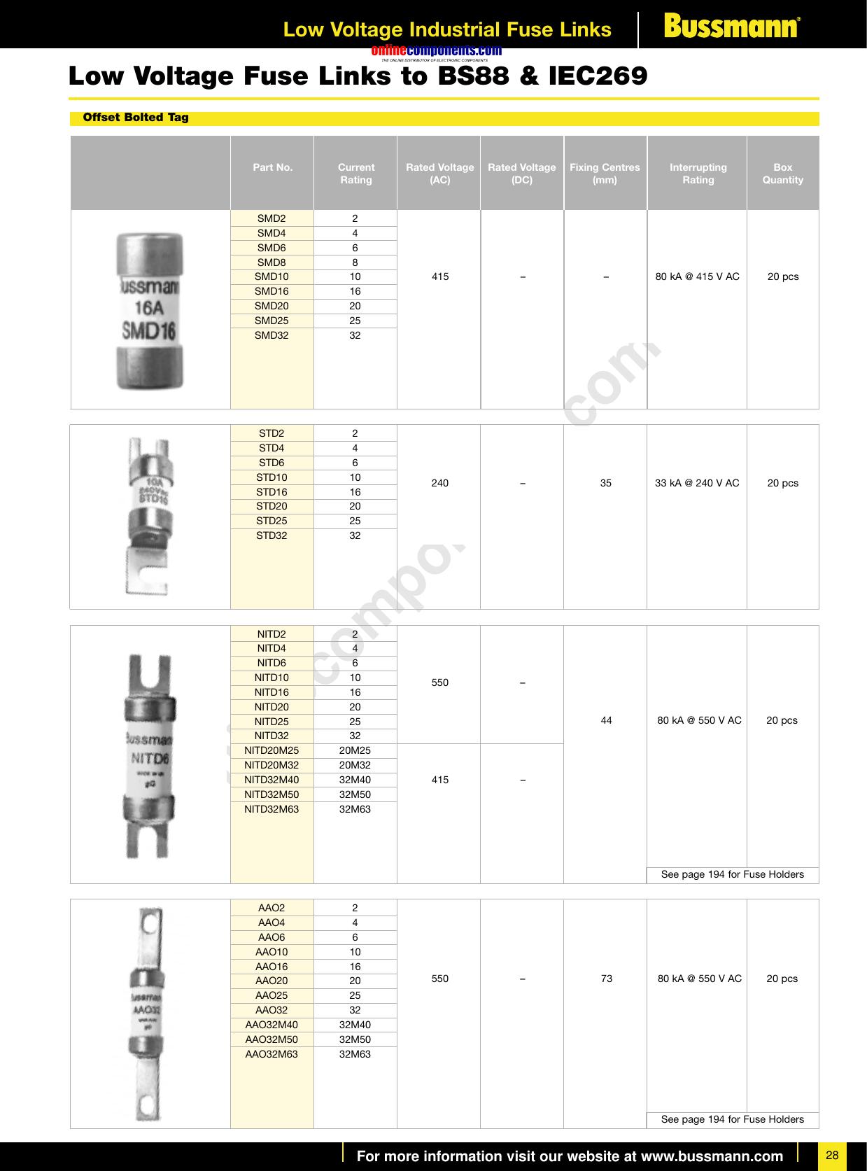 NOS-10 NOS-15 or NOS-20 Amp 600 VAC 1X BUSSMANN FUSE Fast Acting NOS-1 NOS-5