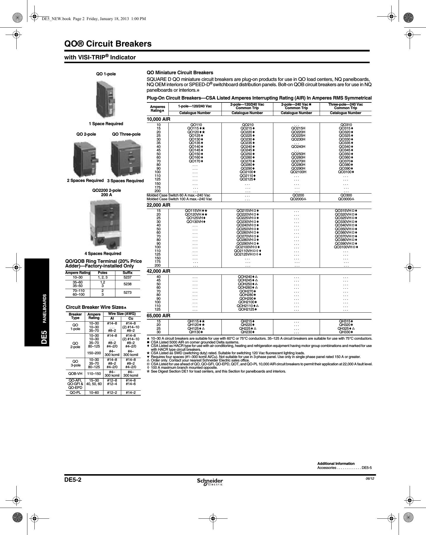 Brochure Square D Schneider Electric Qob130 Miniature Circuit Breaker 24