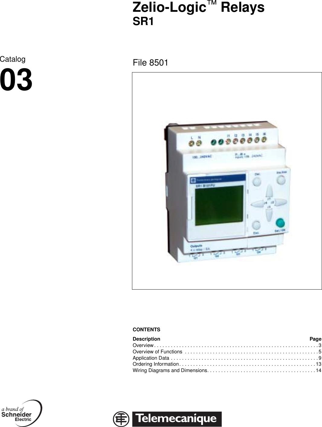 Zelio Logic Relays Sr1 Brochure Telemecanique Wiring Diagram